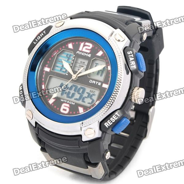 Sports Diving Dual Time Display Wrist Watch w/ Alarm Clock / Stopwatch - Black + Blue (1 x CR2016) splendid brand new boys girls students time clock electronic digital lcd wrist sport watch