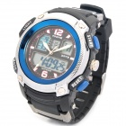 Sports Diving Dual Time Display Wrist Watch w/ Alarm Clock / Stopwatch - Black + Blue (1 x CR2016)