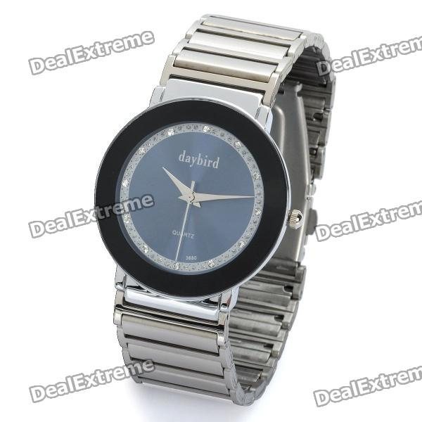 Fashion Stainless Steel Quartz Wrist Watch - Silver + Black (1 x LR626) fashion stainless steel quartz analog wrist watch for women silver blue 1 x lr626