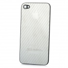Replacement Stylish Slanting Stripe Pattern Metal Battery Back Case Cover for iPhone 4 - Silver