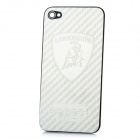 Replacement Stylish Lamborghini Logo Pattern Metal Battery Back Case Cover for iPhone 4 - Silver