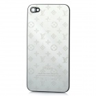 Replacement Stylish Louis Vuitton Logo Pattern Metal Battery Back Case Cover for iPhone 4 - Silver