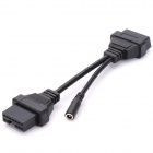 Car 12 Pin to 16 Pin OBD 2 Diagnostic Cable for Mitsubishi - Black