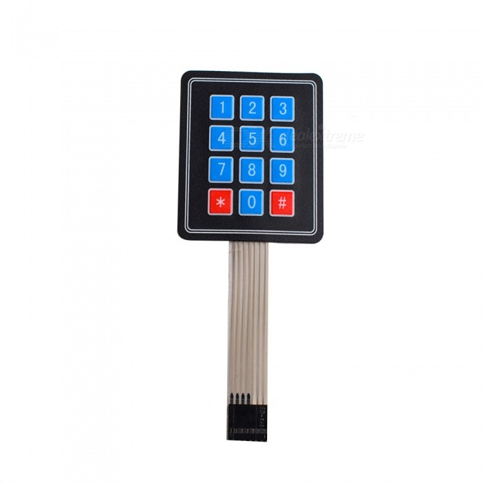 3*4 Matrix 12 Key Membrane Switch Keypad Keyboard - Black
