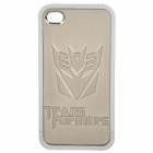 Transformer Decepticon Pattern Protective PV Back Case for iPhone 4 / 4S - Silver
