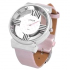 Stylish Cross Skeleton Quartz Wrist Watch - Pink + Silver (1 x 377A)