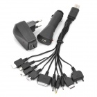 Universal USB/AC/Car Powered Cell Phone Charger w/ 10-in-1 Adapters - Black