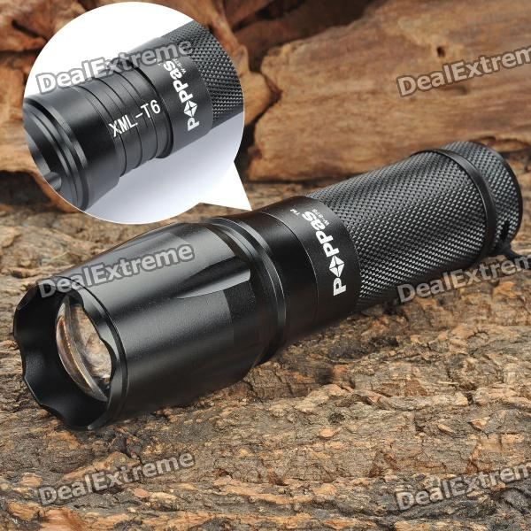 W-878 XML T6 5-Mode 700LM White LED Zoom Convex Lens Flashlight w/ Strap (1x18650 / 3xAAA / 1x26650) canso b06 3 mode 800lm white led convex lens zoom flashlight w strap 2 x 123a 1 x 18650