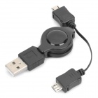Retractable USB Male to 2 x Micro USB Male Extended Cable - Black (74cm-Etended Length)