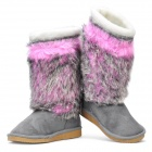 Women's Warm Snow Boots Shoes - Grey + Purple (EUR Size-37)