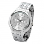 Men's Stylish Waterproof Stainless Steel Quartz Watch - Silver (1 x LR41)