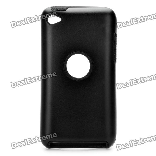 Protective Aluminum Alloy + Silicone Back Case for Ipod Touch 4 - Black