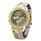 Men's Stylish Waterproof Stainless Steel Quartz Watch - Golden + Silver (1 x 377)