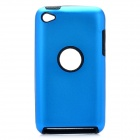 Protective Aluminum Alloy + Silicone Back Case for iPod Touch 4 - Blue