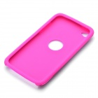 Protective Aluminum Alloy + Silicone Back Case for Ipod Touch 4 - Deep Pink