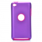 Protective Aluminum Alloy + Silicone Back Case for iPod Touch 4 - Purple