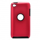 Protective Aluminum Alloy + Silicone Back Case for Ipod Touch 4 - Red