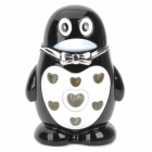 Cool QQ Cartoon Style LED Colorful Flashing Light Windproof Gas Lighter - Black + White