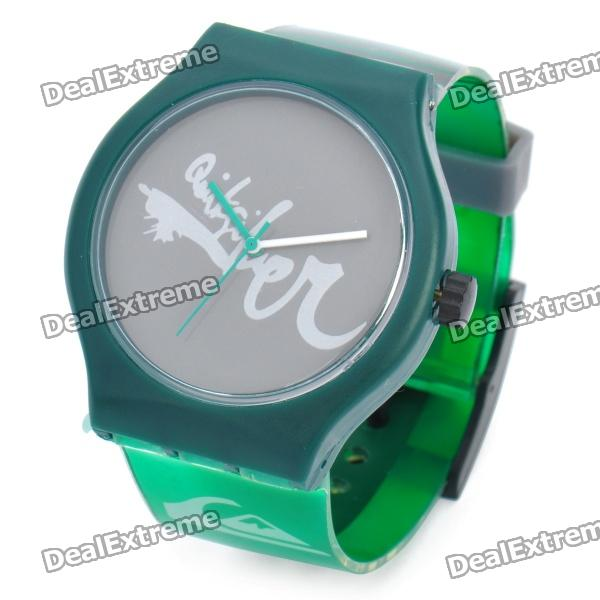 Stylish Electronic Quartz Wrist Watch - Green + Grey (1 x SR626SW)