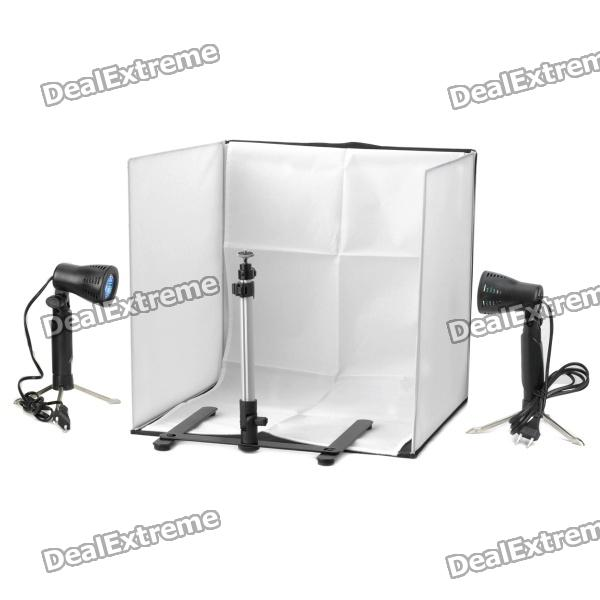 Portable Photo Studio 4 Photographic Backgrounds + 1 Camera Stand + 2 Halogen Lights w/ Carrying Bag