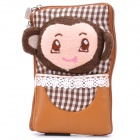 Cute Monkey Head Style Zippered Carrying Bag Pouch w/ Strap for Cell Phone - Coffee