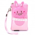 Cute Rabbit Style Zippered Dual Compartment Bag Pouch for Cell Phone / Small Gadgets / Coins - Pink