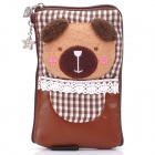 Cute Bear Style Zippered Dual Compartment Bag Pouch for Cell Phone / Small Gadgets / Coins - Brown