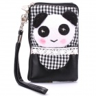 Cute Panda Style Zippered Dual Compartment Bag Pouch for Cell Phone / Small Gadgets / Coins - Black