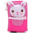 Cute Rabbit Style Zippered Dual Compartment Bag Pouch for Cell Phone / Small Gadgets - Deep Pink