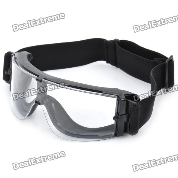 Stylish Outdoor Riding Eye Protection Glasses Goggle - Transparent + Black stylish outdoor riding pc lens eye protection glasses goggle size l