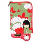 Cute Japanese Kimono Doll Pattern Zippered Bag Pouch w/ Card Holder for Cell Phone - Red + Green