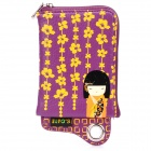Cute Japanese Kimono Doll Pattern Zippered Bag Pouch with Card Holder for Cell Phone - Purple
