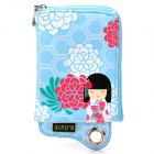 Cute Japanese Kimono Doll Pattern Zippered Pouch with Card Holder for Cell Phone / Small Gadgets