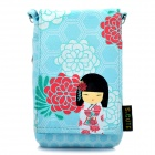 Cute Japanese Kimono Doll Pattern Pouch with Lanyard for Cell Phone / Small Gadgets - Light Blue