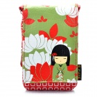 Cute Japanese Kimono Doll Pattern Pouch w/ Lanyard for Cell Phone / Small Gadgets - Red + Green