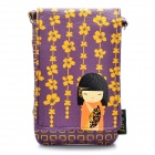 Cute Japanese Kimono Doll Pattern Bag Pouch with Lanyard for Cell Phone / Small Gadgets - Purple