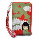 Cute Japanese Kimono Doll Pattern Zippered Bag Pouch w/ Card Holder for Cell Phone - Green + Red