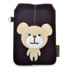 Universal Bear Style Protective Plush Fabric Bag Pouch for Cell Phone - Coffee