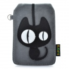 Universal Cute Cat Style Protective Plush Fabric Bag Pouch for Cell Phone - Grey Black