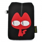 Universal Cat Style Protective Plush Fabric Bag Pouch for Cell Phone - Black + Red