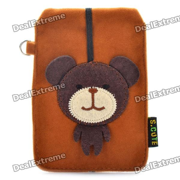 Universal Cute Bear Style Protective Plush Fabric Bag Pouch for Cell Phone - Brown