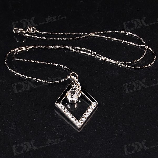Stylish 925 Silver Plated Necklace with Crystal Pendant