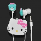 Cute Bear Style In-Ear Earphone w/ Microphone / Hello Kitty Style Wire Organizer for iPhone 4
