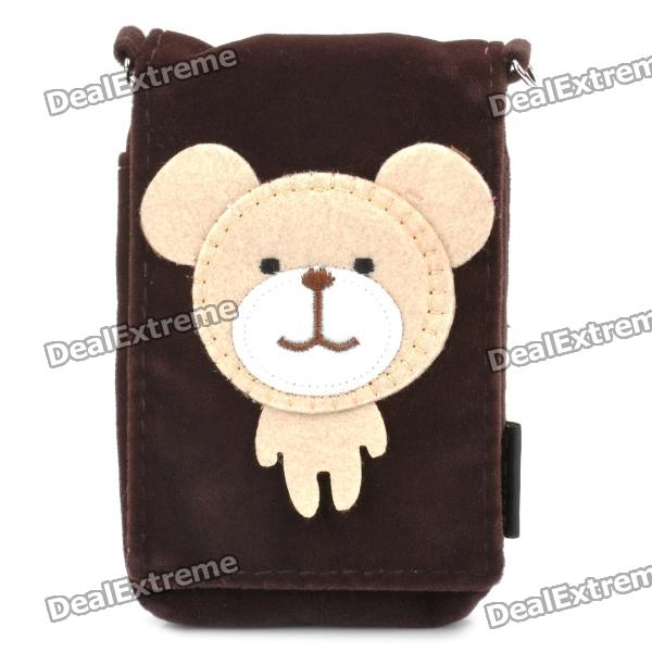 Cute Cartoon Mobile Phone Carrying Handbag Pouch - Deep Coffee