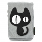 Cute Black Cat Style Velcro Zippered Carrying Bag Pouch w/ Lanyard for Cell Phone - Grey