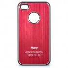 Protective Plastic + Brushed Metal Back Case for iPhone 4 / 4S - Red + Black
