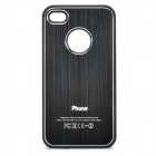 Protective Plastic + Brushed Metal Back Case for iPhone 4 / 4S - Black