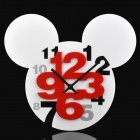 Mickey Head Style Hollow-Out Plastic Wanduhr - Weiß (1 x AA)