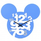 Mickey Head Style Hollow-Out Plastic Wanduhr - Blau (1 x AA)