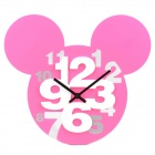 Mickey Head Style Hollow-Out Plastic Wanduhr - Pink (1 x AA)